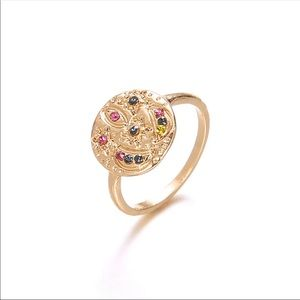 BOHEMIAN CRYSTAL DISC GOLD RING